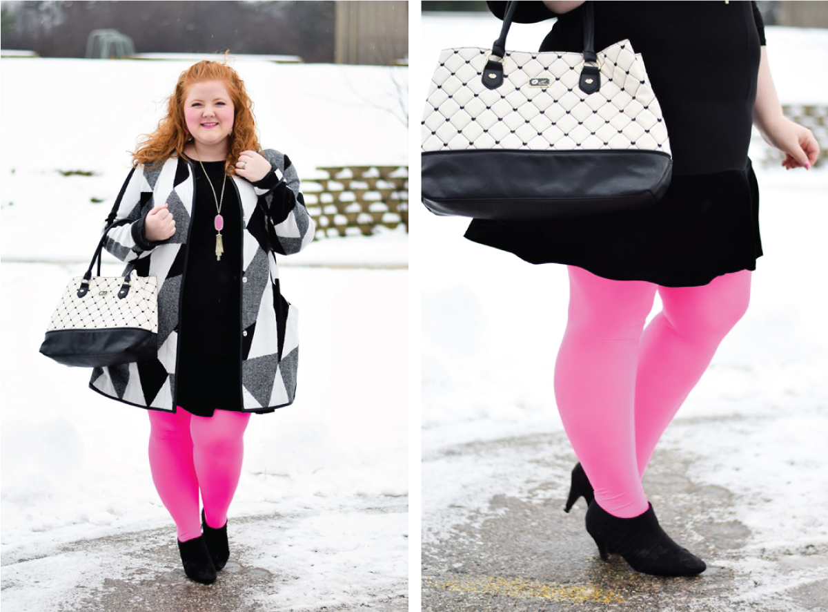 woman standing outside winter time wearing neon pink tights black and white coat
