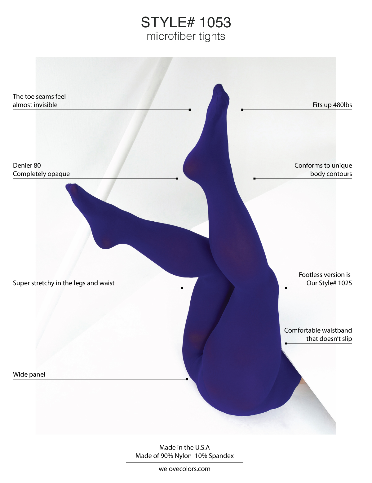 Best Soft Opaque Durable Colorful Plus Size Tights 8X 1053 1