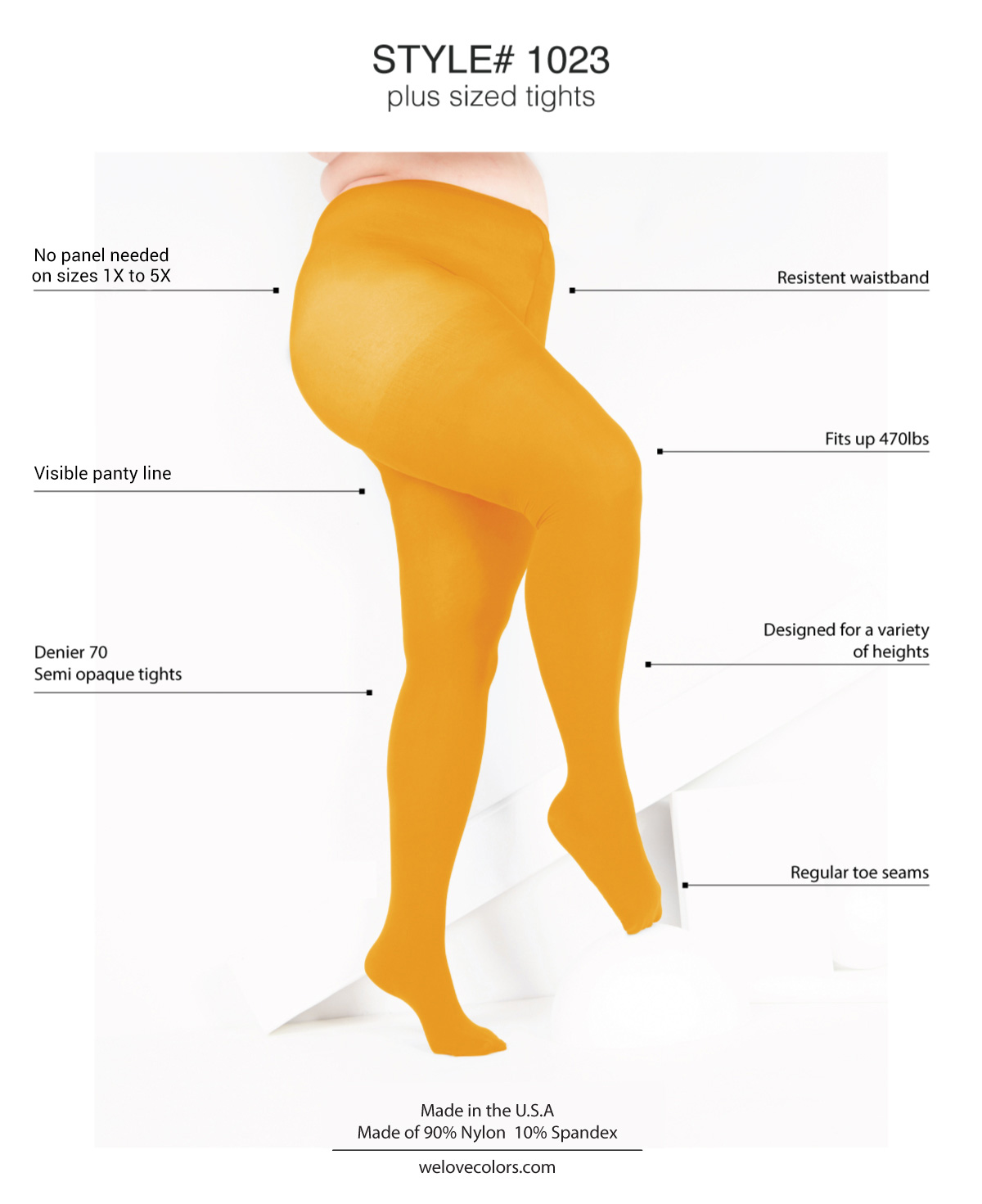 graphic describing attributes on plus size hosiery orange tights