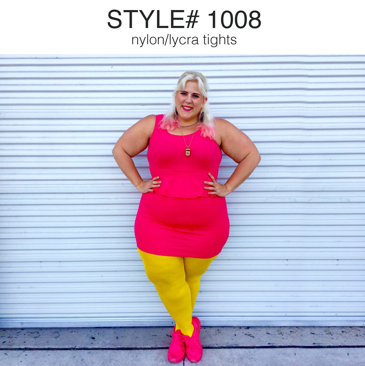 Plus Size woman smiling wearing a neon pink dress and yellow tights