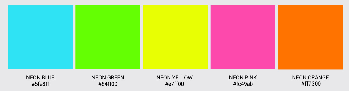 Color Palette We Love Colors Neon Green Yellow Pink Orange Blue 2 1