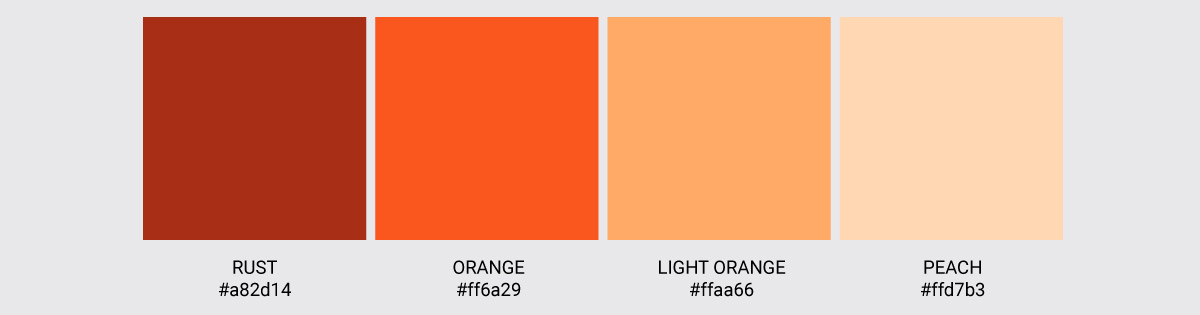 Color Palette We Love Colors Orange Rust Peach Light Orange 2