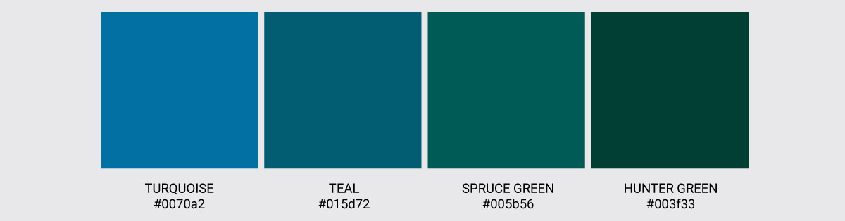 Color Palette We Love Colors Turquoise Hunter Teal Spruce Green 2