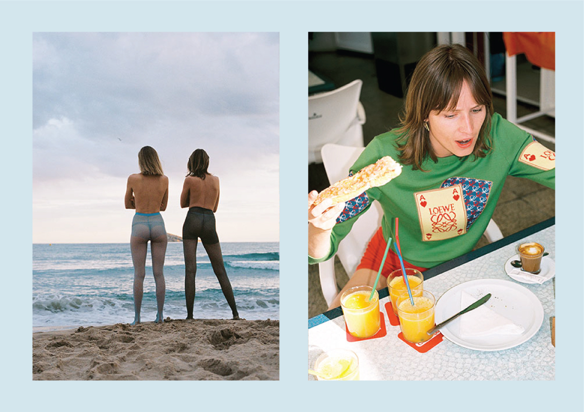 two models standing on the beach wearing colored tights (left), model eating breakfast (right)