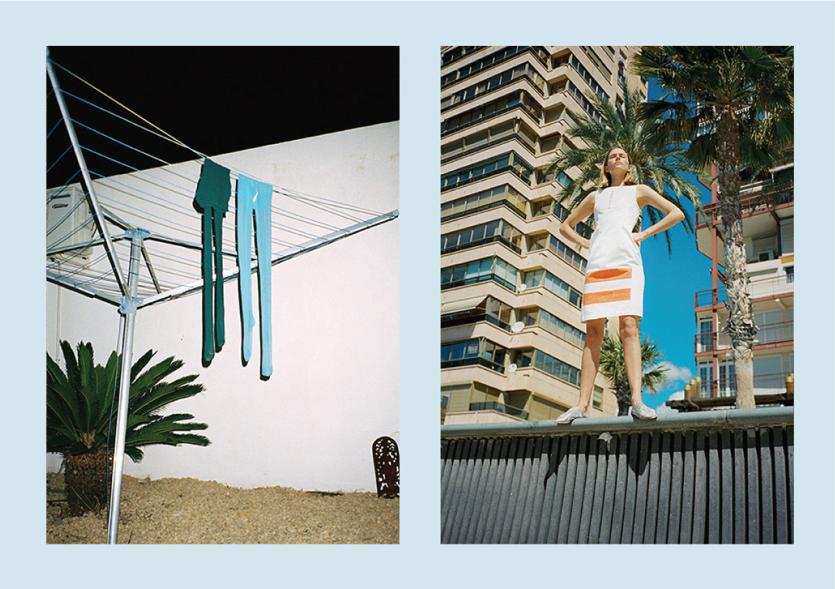 two pair of tights hanging (left) model standing with buildings behind (right)