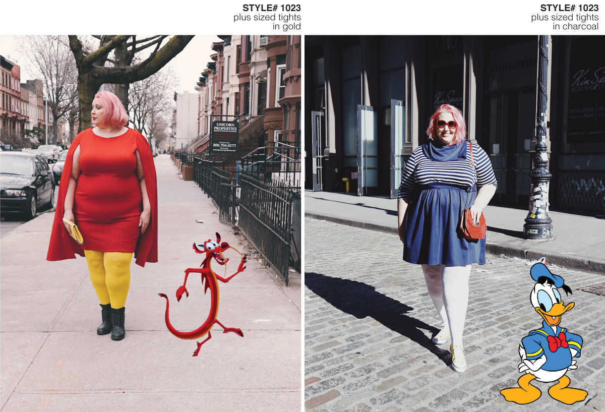 Fashion blogger standing on the street wearing a Disneybouding Mushu and Donald Duck inspired outfit