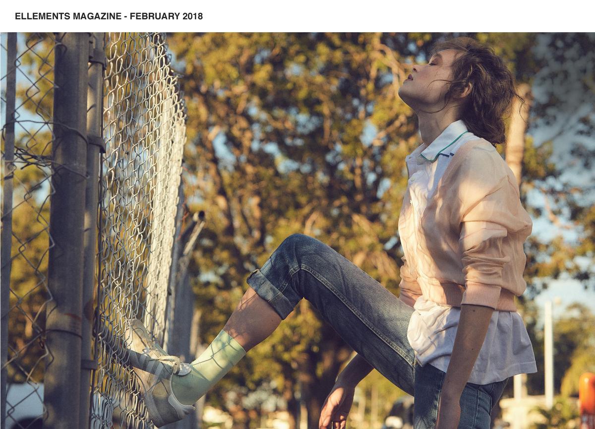 urban editorial model wearing pastel mint socks