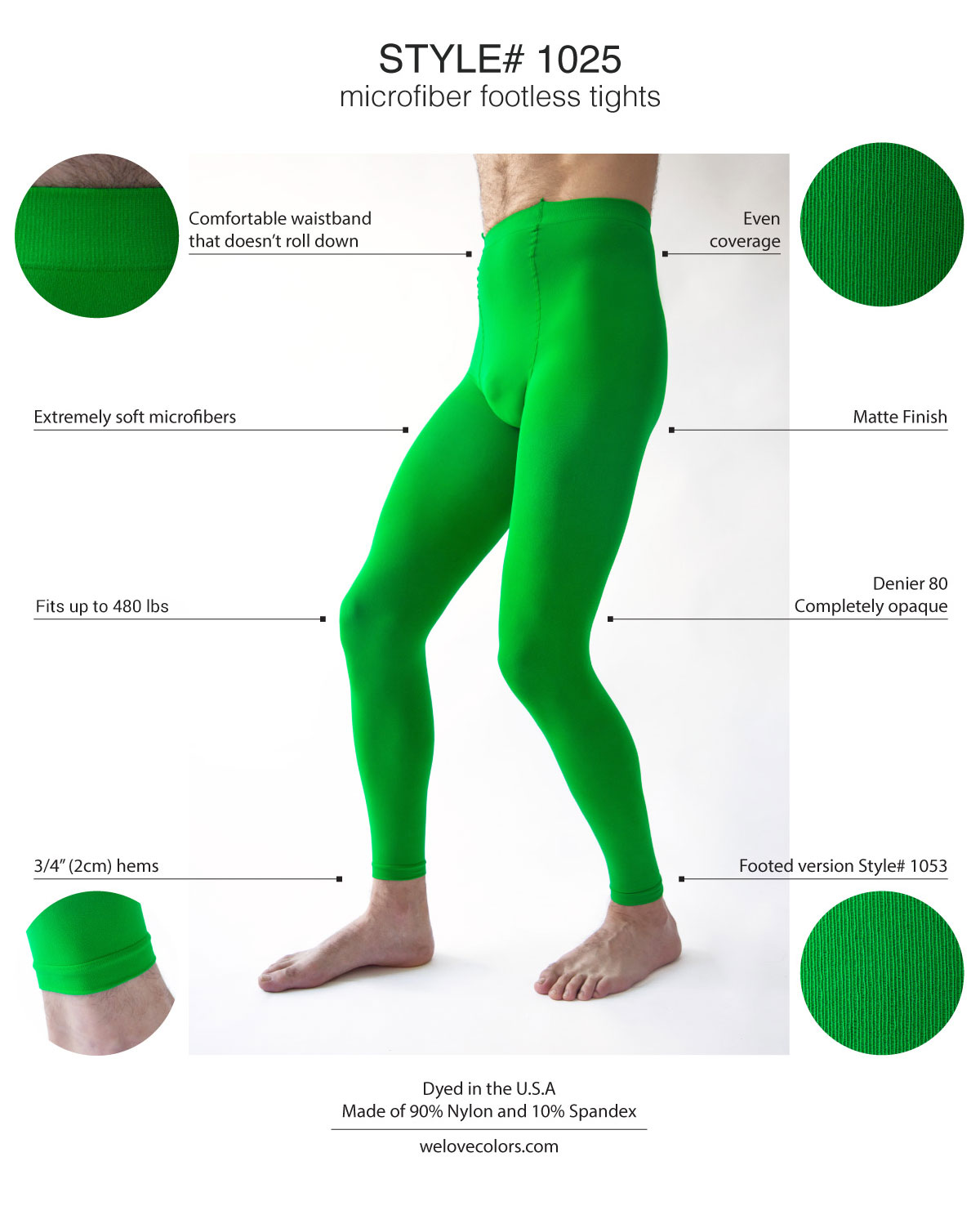Men Color Footless Performance Green Tights Welovecolors