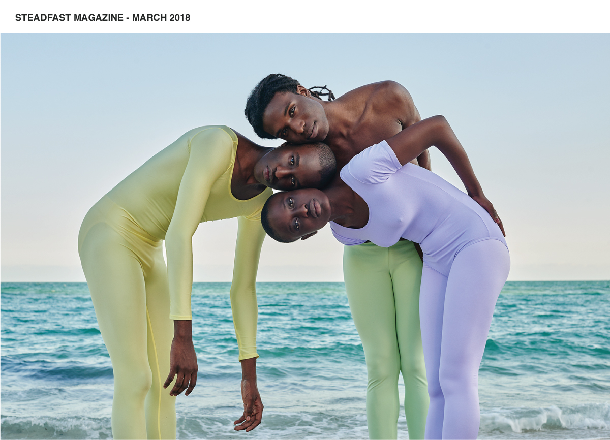 stedfast magazine editorial with models wearing pastel colored hosiery at the beach