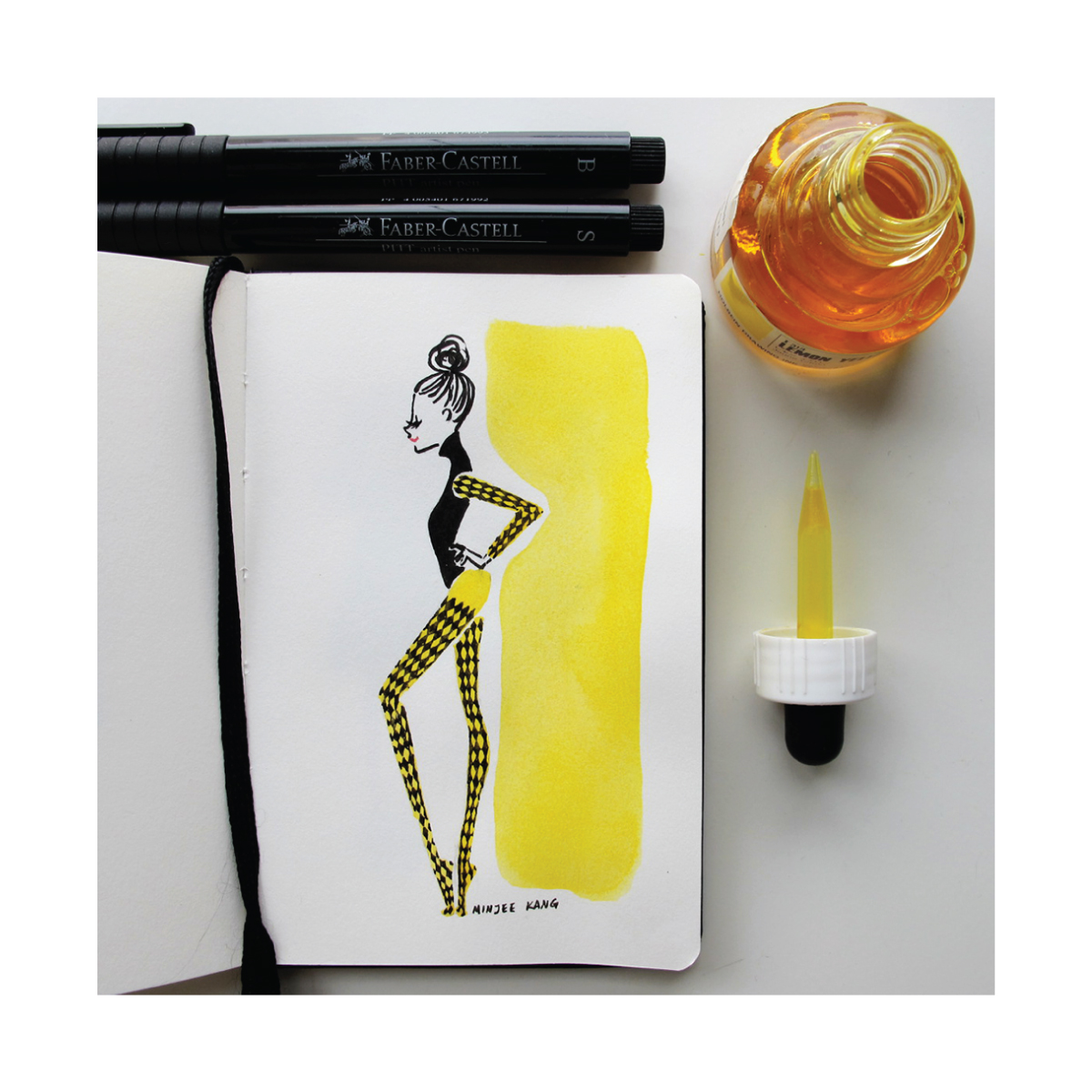 Fashion illustration of model with yellow patterned tights