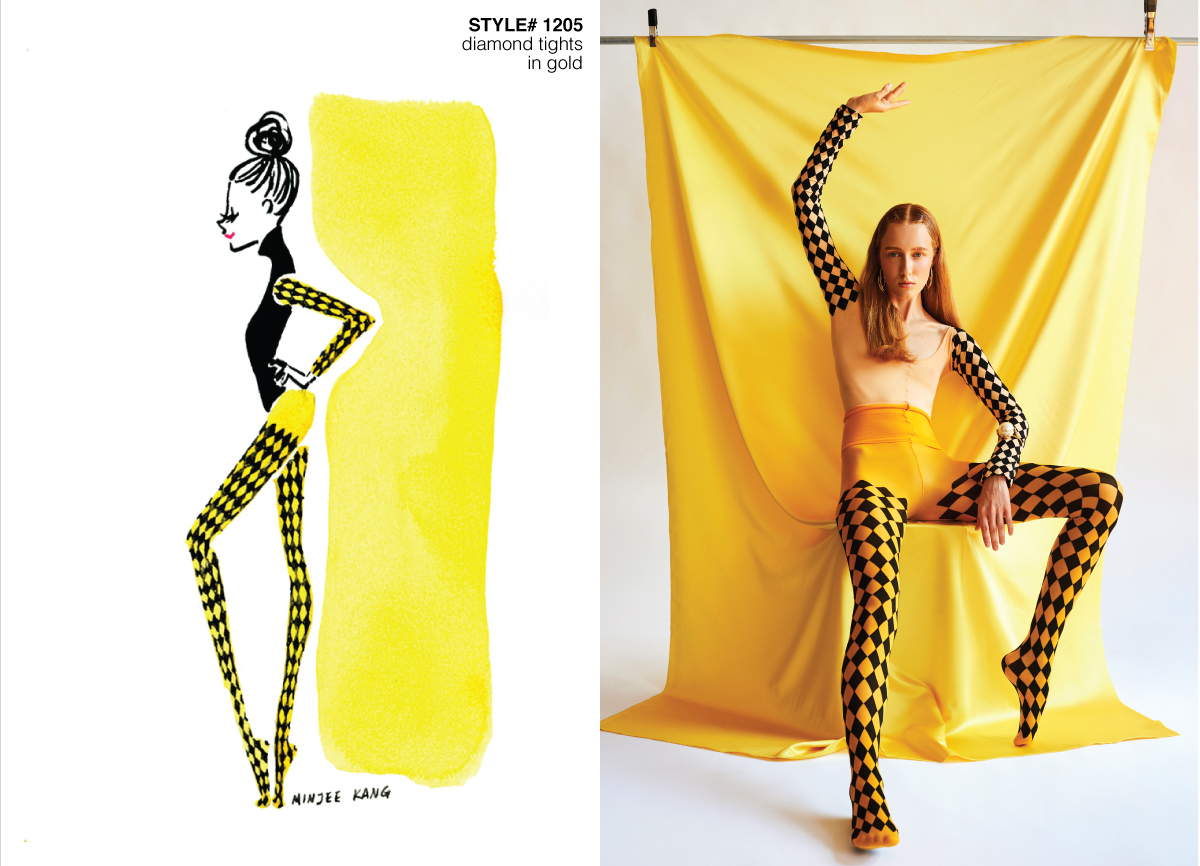 Fashion illustration and photo of model with yellow patterned tights