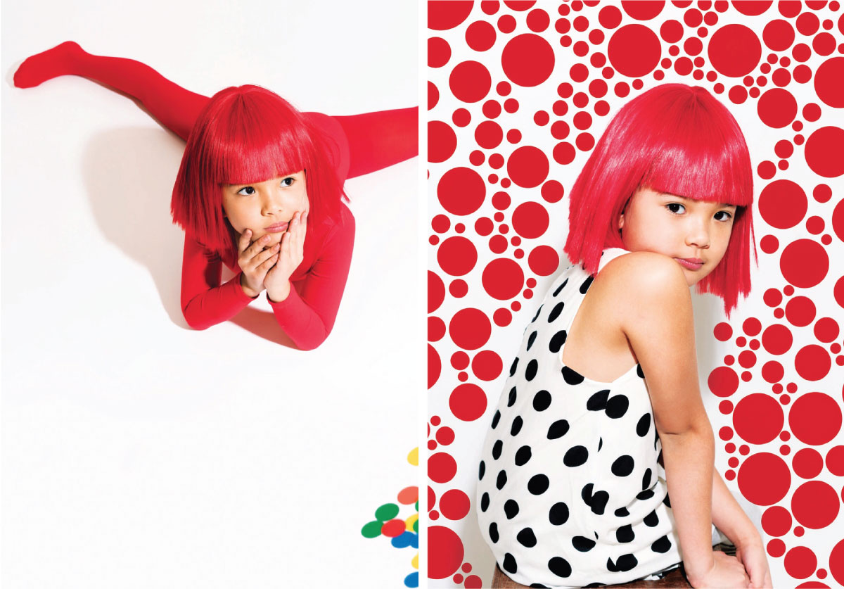 Kid wearing red tights photoshoot for mini maven magazine