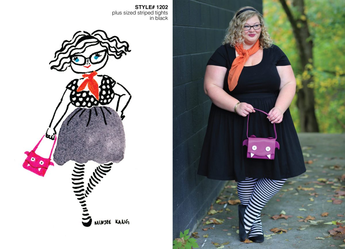 Fashion illustration and photo of plus size blogger with striped tights