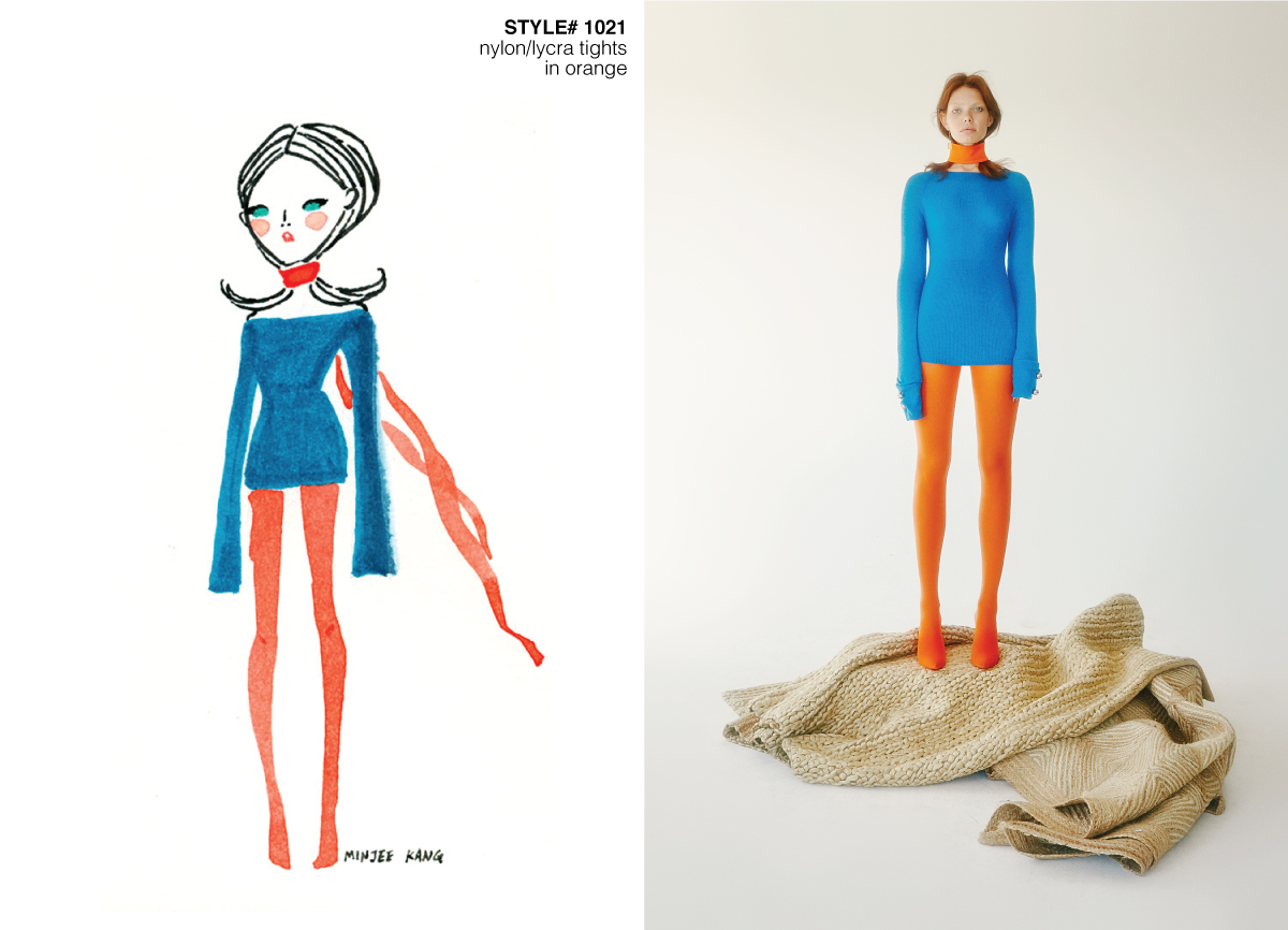 Fashion illustration and editorial of model with orange tights