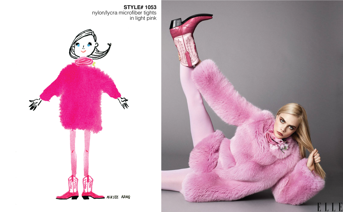 Fashion illustration and photo of model with light pink tights