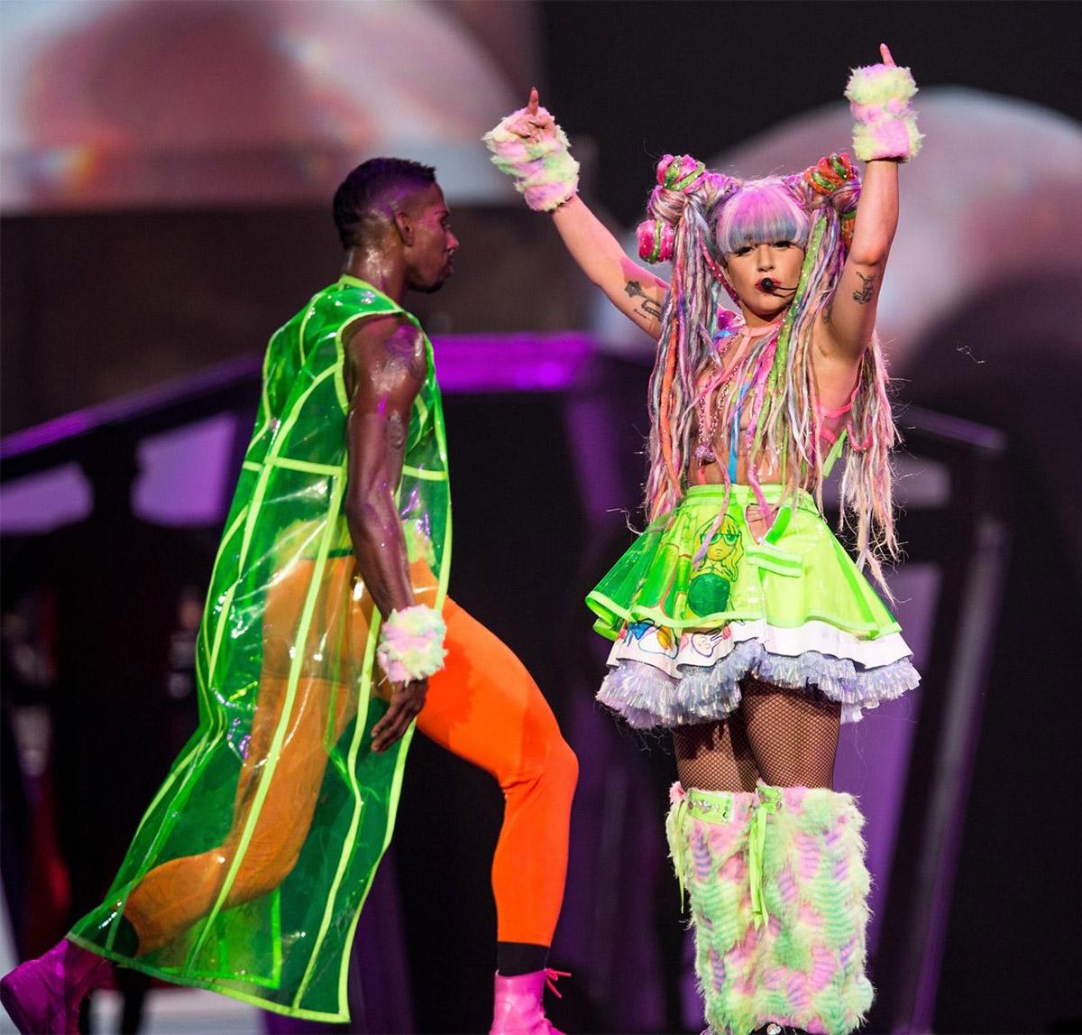 Neon Orange Mens Tights Art Pop Ladygaga