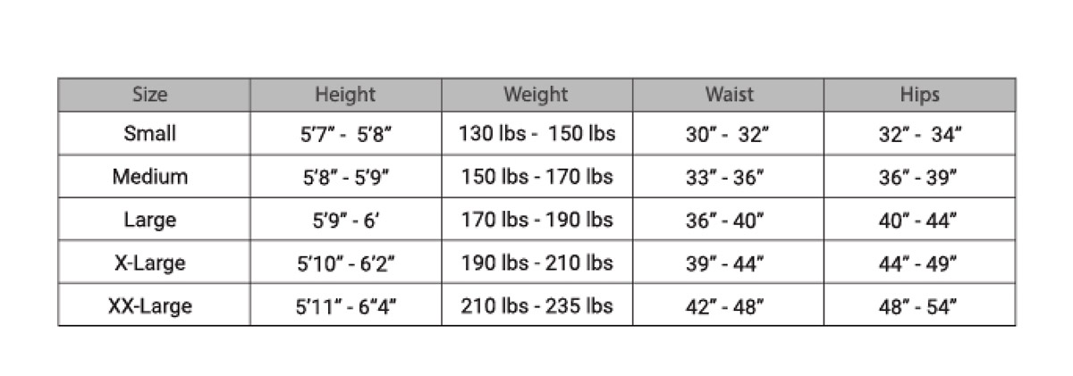 Performance Tights Size Chart Welovecolors