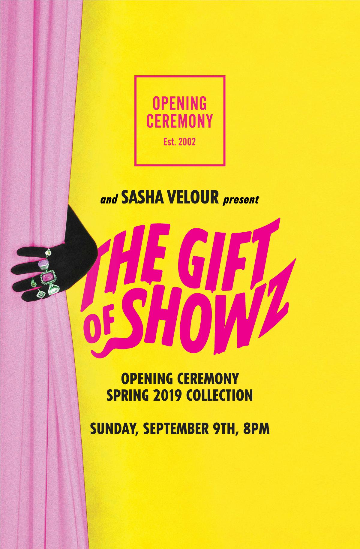 Sasha Velour open ceremony event poster