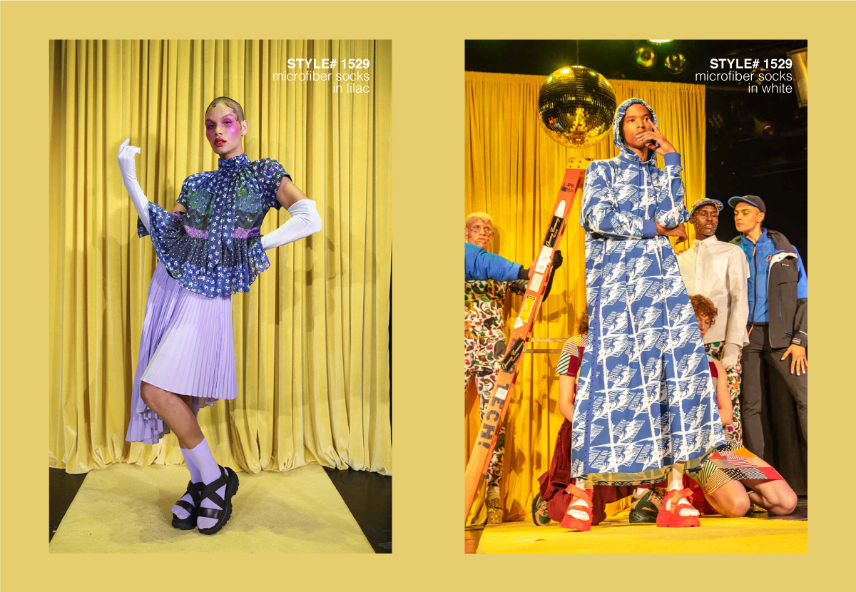 a female model wearing lilac skirt, gloves and socks (left) with yellow curtains behind, male model wearing printed blue dress walking down a runway (right)