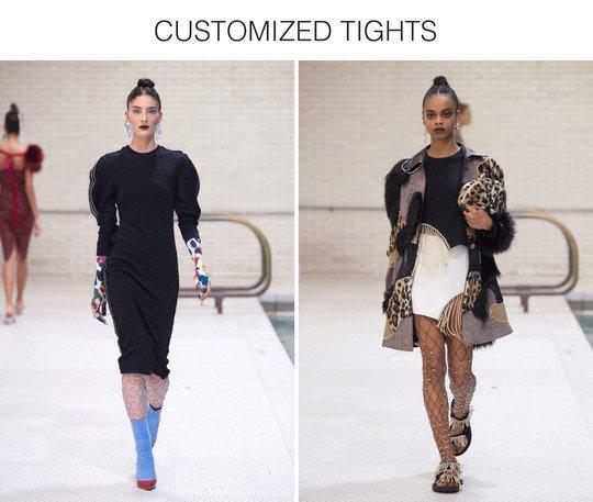 female models walking on a runway wearing colored fishnets