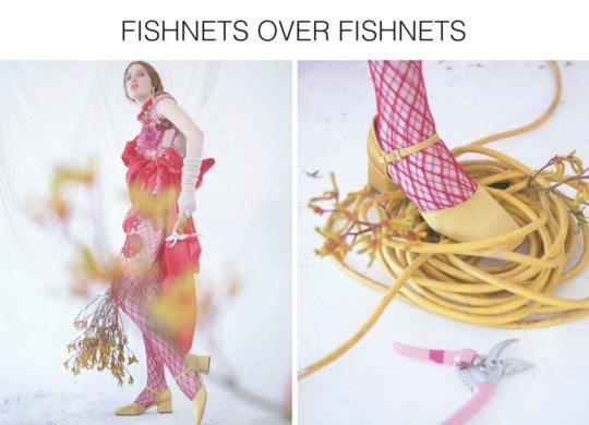 fashion editorial with model in a utopian garden set wearing fishnets