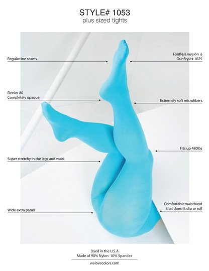 graphic describing attributes on plus size hosiery neon blue