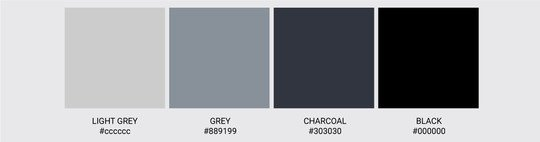 Color Palette We Love Colors Black Charcoal Grey Light Grey 2