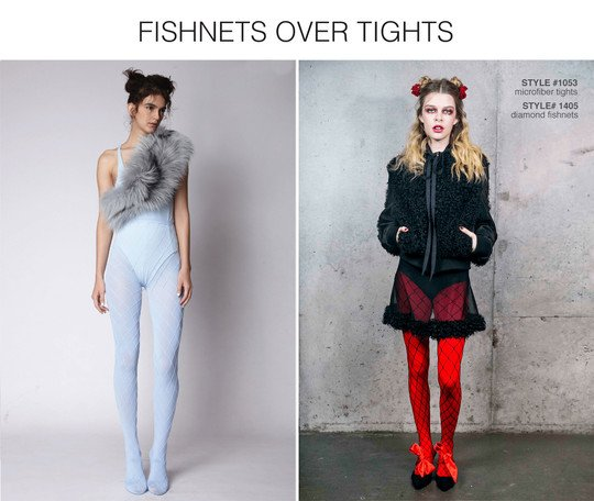 Diamond Fishnets Over Solid Color Tights