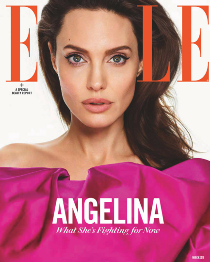 Angelina Jolie on cover of Elle magazine