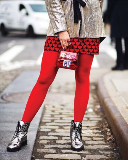 blogger standing on the streets in New York wearing red tights and outfit