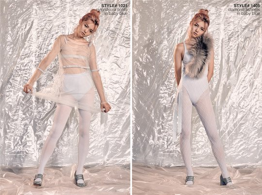 White experimental editorial with model standing with a silver background behind wearing white outfit