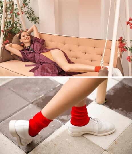 nylon socks in scarlet red and rust