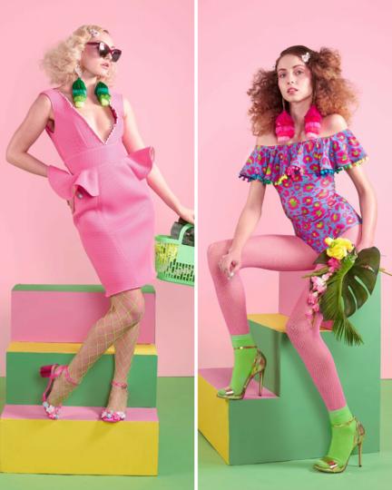 Lom Fishnet Socks Neon Pink Green