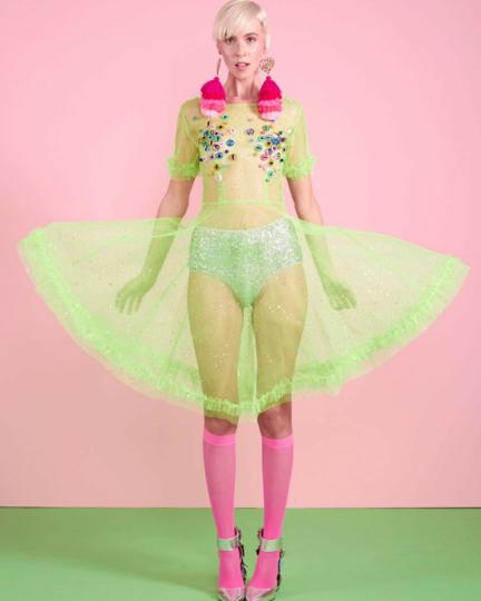 Lom Neon Pink Sheer Knee Highs