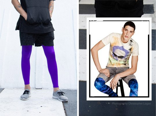 Men Color Tights Footless Performance