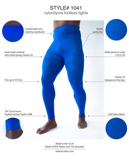 Men Colored Comfortable Footless Tights Welovecolors 1041