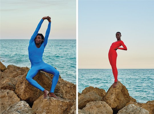 steadfast magazine photoshoot with models wearing colorful unitards at the beach