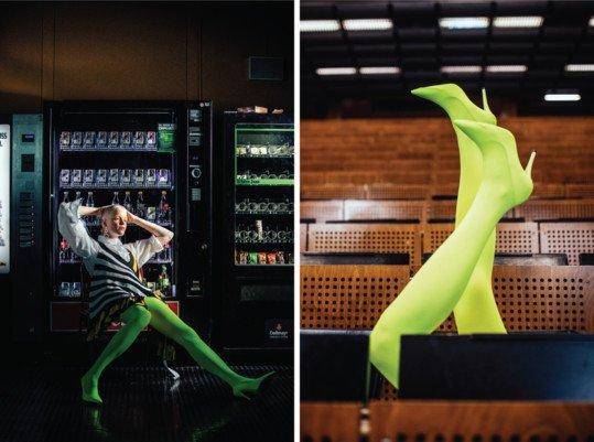 Neon Green Tights Fashion Photoshoot 1 1