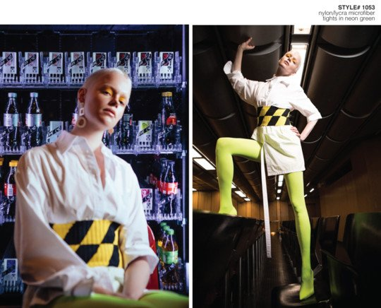 Fashion Collection photoshoot with model wearing neon green tights