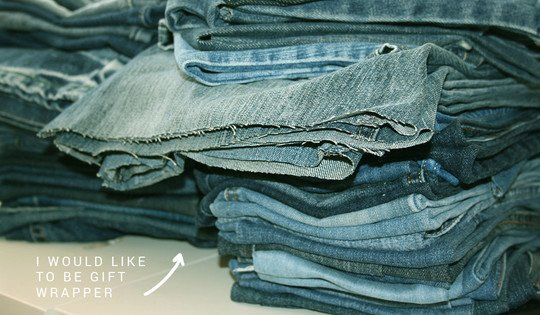 Old Jeans Sustainable Gift Wrapping