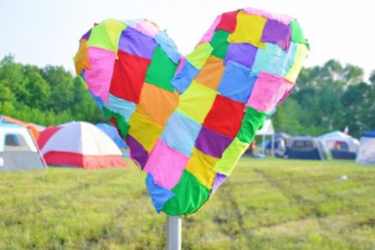 Patchwork Tights Heart Sculpture - We Love Colors