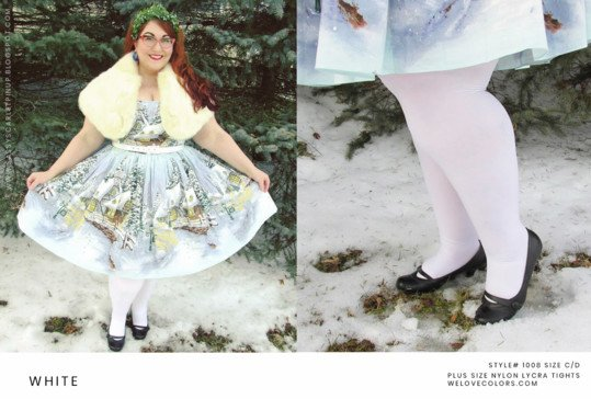 Plus Size White Christmas Tights Copy