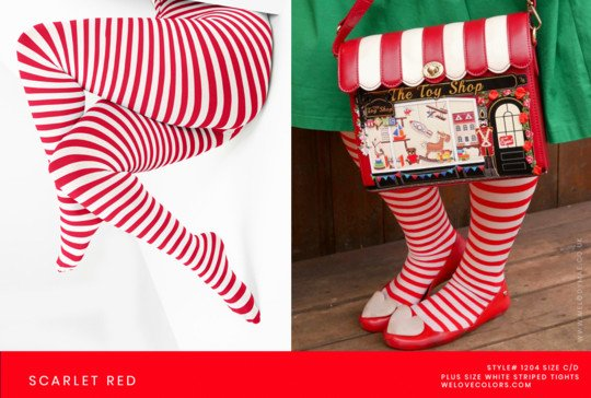 Plus Size White Red Christmas Striped Tights
