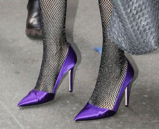 Sarah Jessica Parker Glitter Fishnets Purple Heels