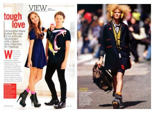 Teen Vogue editorial models wearing Neon Pink and Orange Socks