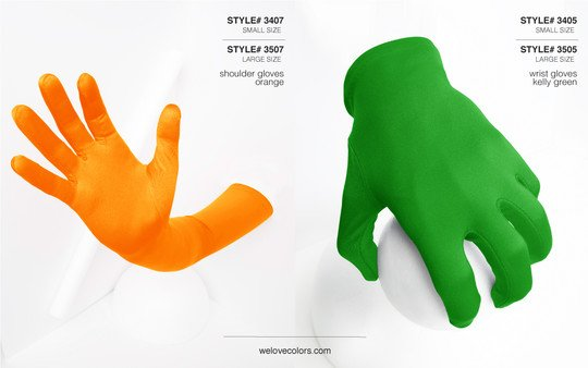 We Love Colors Shoulder Wrist Nylon Gloves Kelly Green Orange 1