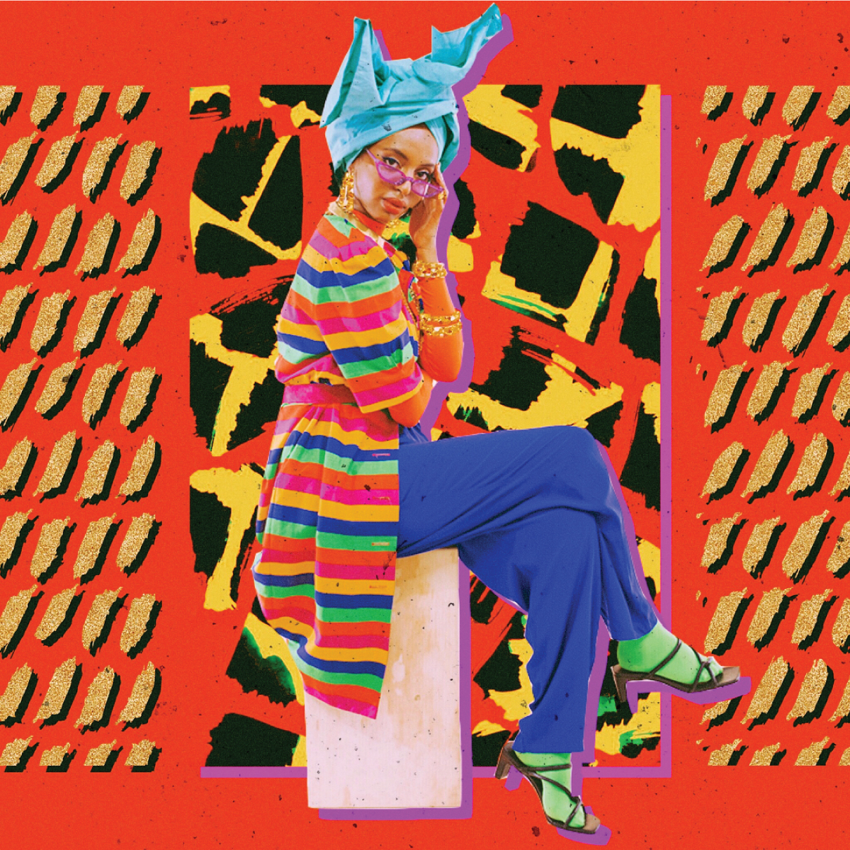 Colorful fashion photography illustration with model wearing colored clothing and head wrap