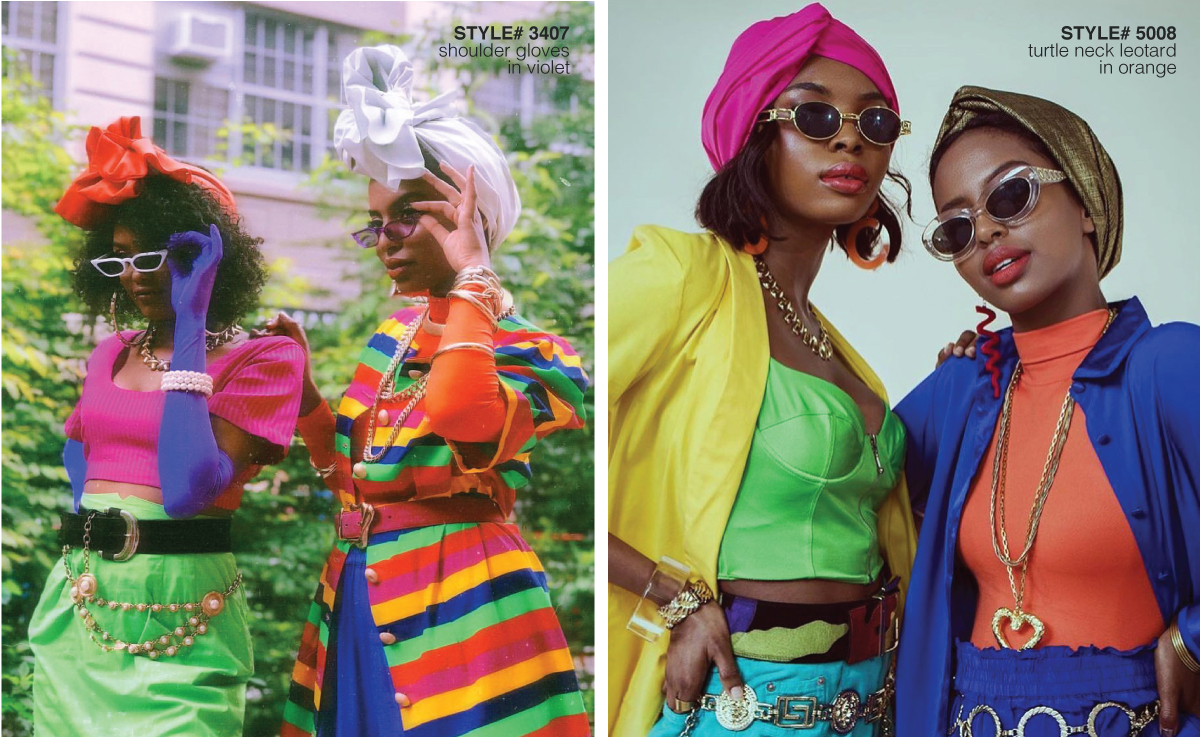 fashion photoshoot with models wearing colorful clothing and head wraps walking on the streets