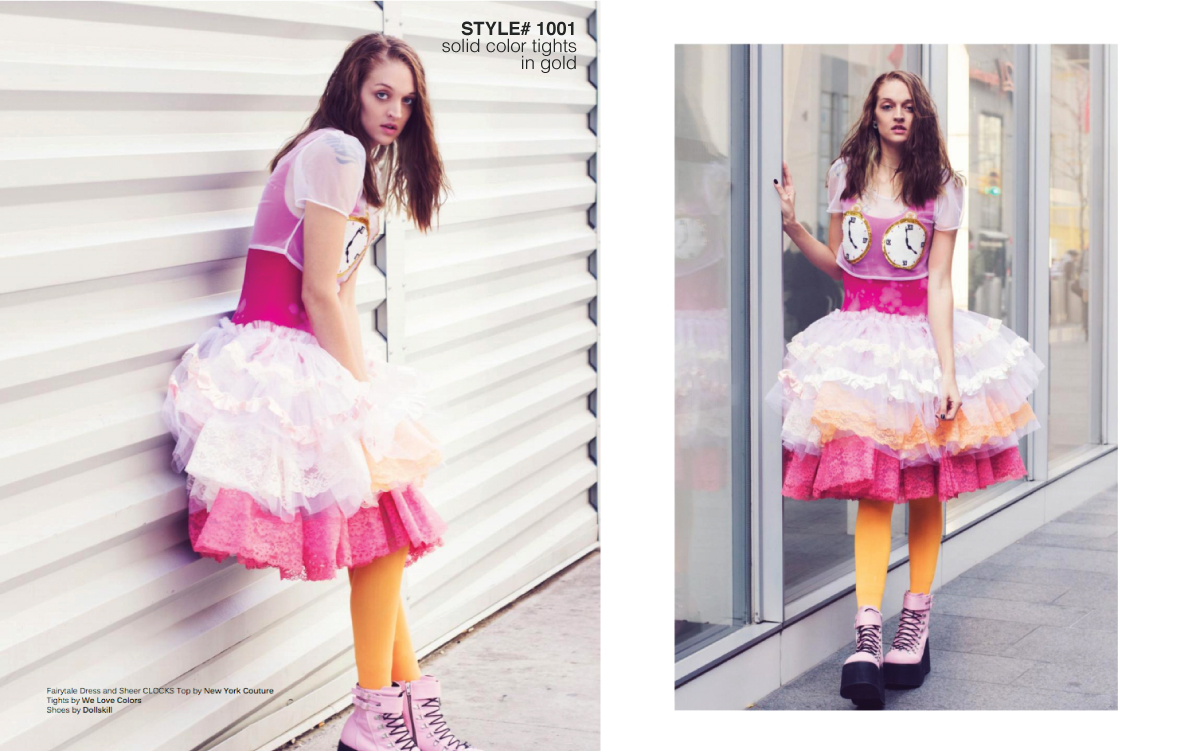 model walking on the streets wearing white and pink dress and yellow tights