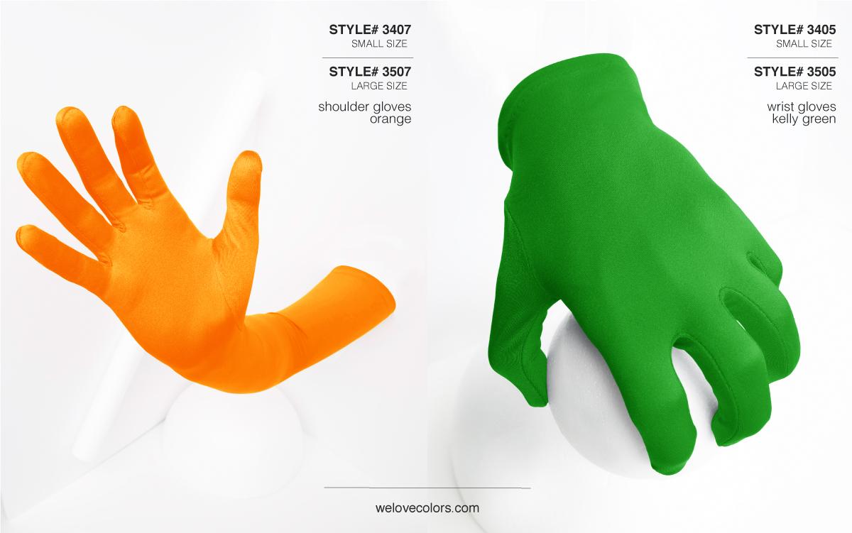 We Love Colors Shoulder Wrist Nylon Gloves Kelly Green Orange 1